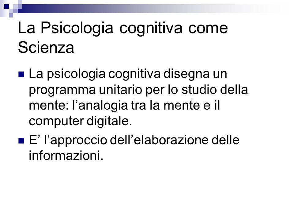 La Psicologia cognitiva come Scienza La psicologia cognitiva disegna un programma unitario per lo studio della mente: lanalogia tra la mente e il comp