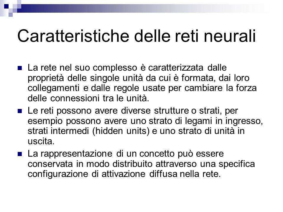 Caratteristiche delle reti neurali La rete nel suo complesso è caratterizzata dalle proprietà delle singole unità da cui è formata, dai loro collegame