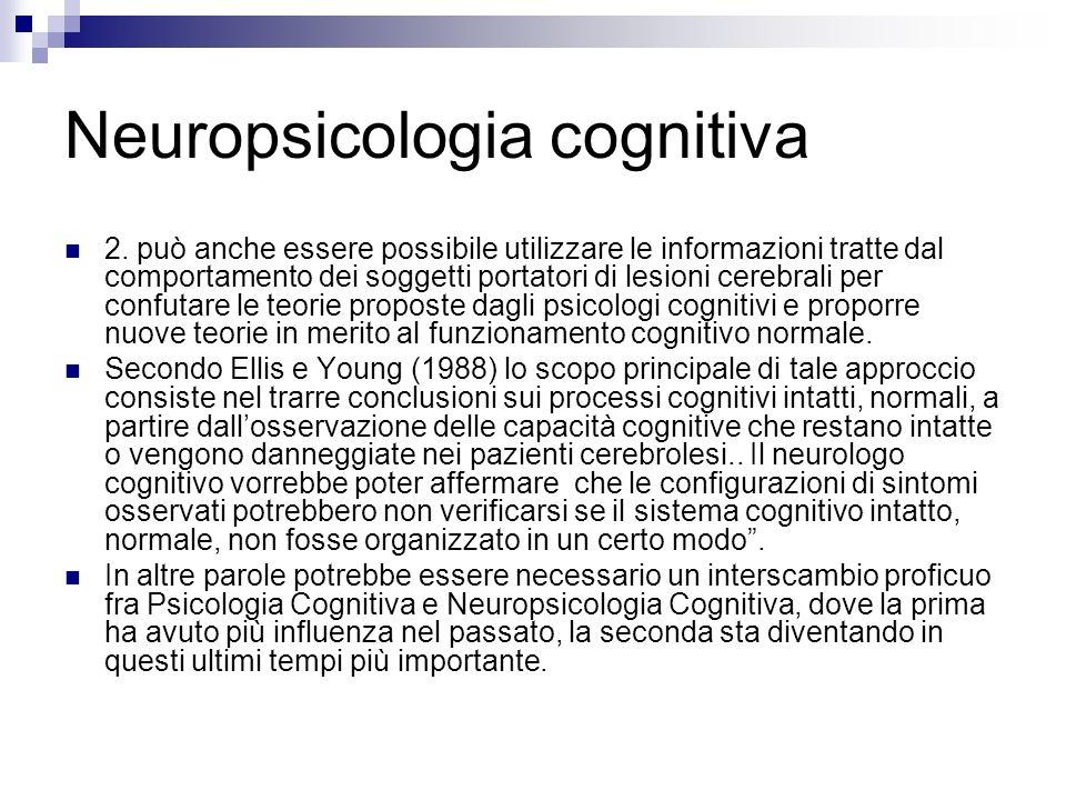 Neuropsicologia cognitiva 2. può anche essere possibile utilizzare le informazioni tratte dal comportamento dei soggetti portatori di lesioni cerebral