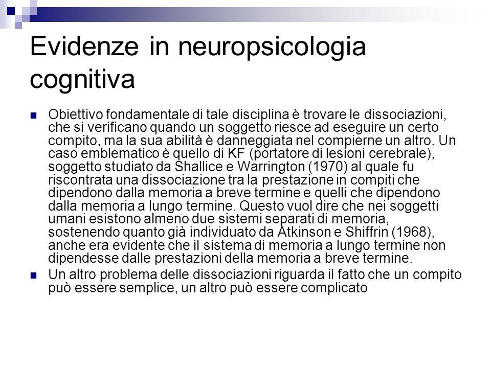 Evidenze in neuropsicologia cognitiva Obiettivo fondamentale di tale disciplina è trovare le dissociazioni, che si verificano quando un soggetto riesc