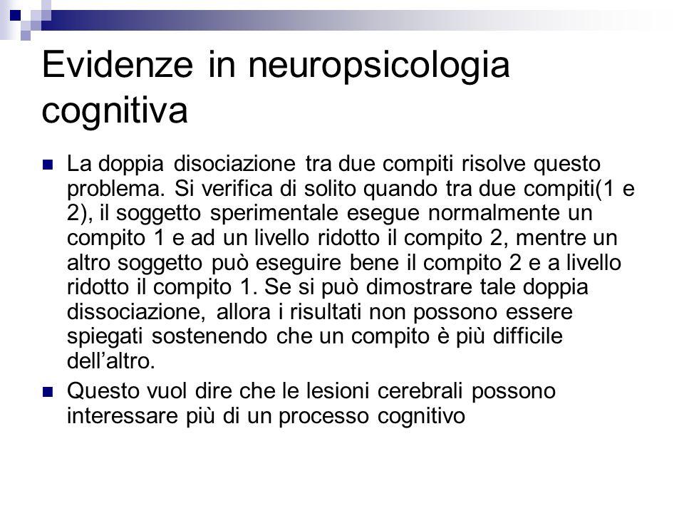 Evidenze in neuropsicologia cognitiva La doppia disociazione tra due compiti risolve questo problema. Si verifica di solito quando tra due compiti(1 e