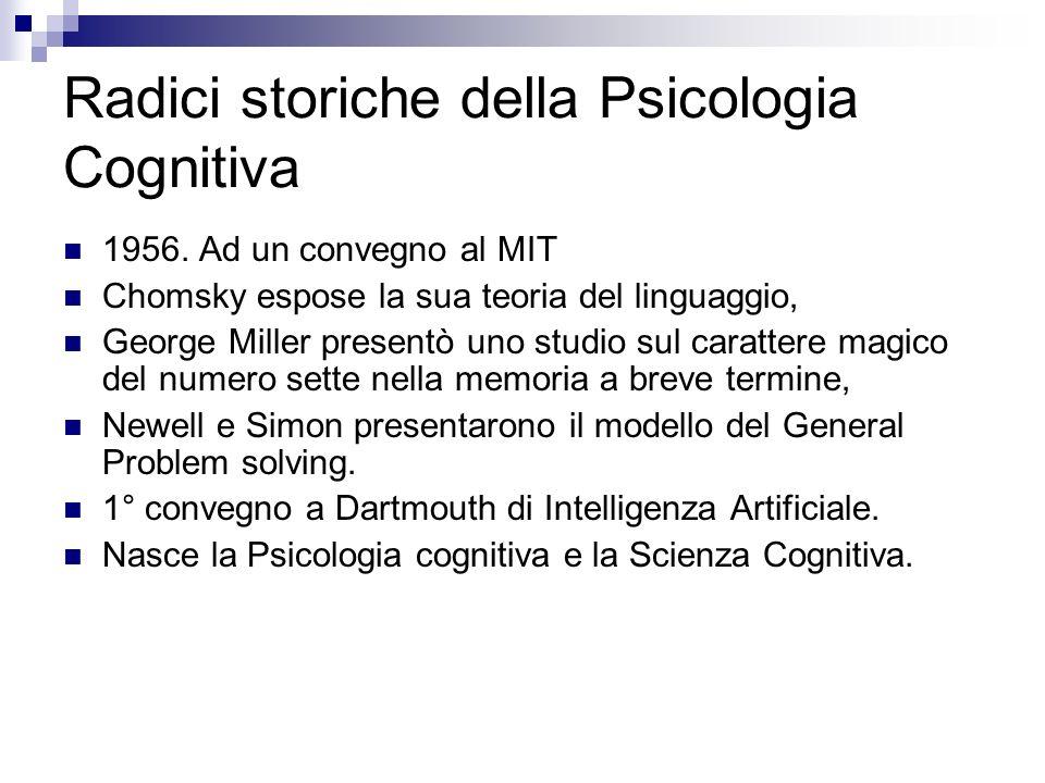 Radici storiche della Psicologia Cognitiva 1956. Ad un convegno al MIT Chomsky espose la sua teoria del linguaggio, George Miller presentò uno studio