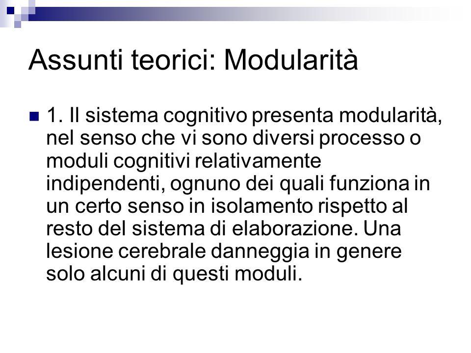 Assunti teorici: Modularità 1. Il sistema cognitivo presenta modularità, nel senso che vi sono diversi processo o moduli cognitivi relativamente indip
