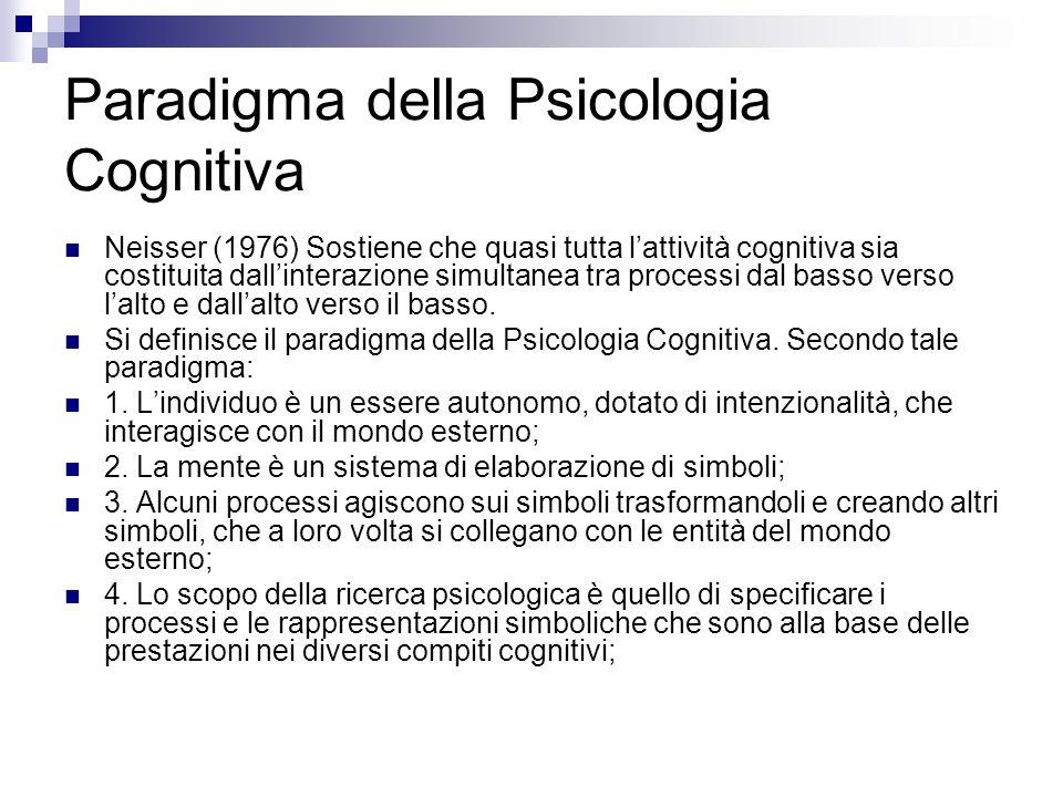 Paradigma della Psicologia Cognitiva Neisser (1976) Sostiene che quasi tutta lattività cognitiva sia costituita dallinterazione simultanea tra process