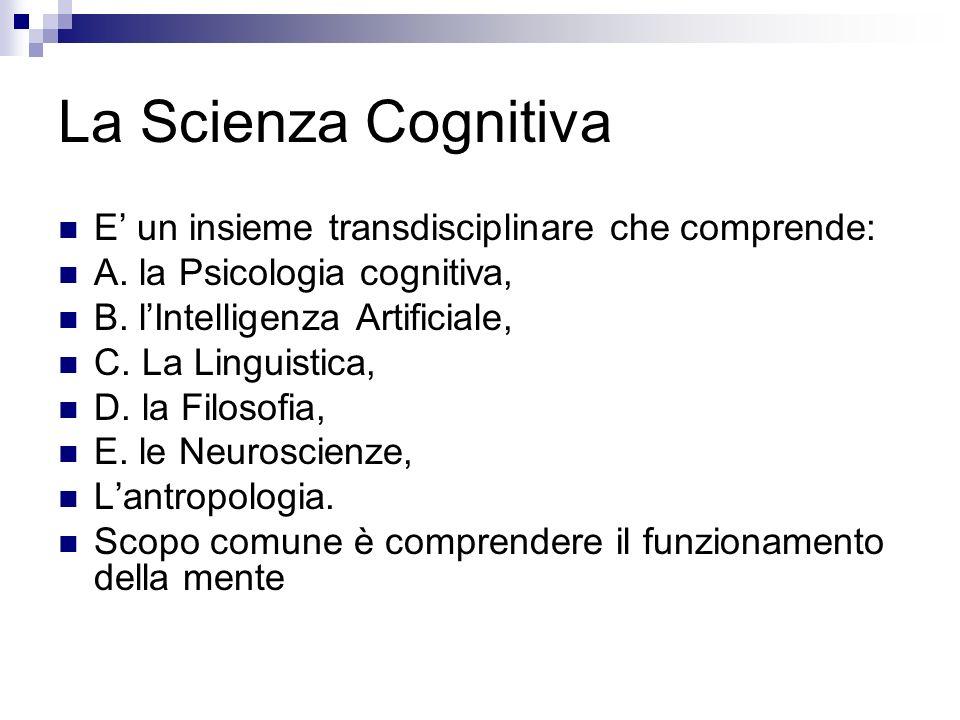 La Scienza Cognitiva E un insieme transdisciplinare che comprende: A. la Psicologia cognitiva, B. lIntelligenza Artificiale, C. La Linguistica, D. la