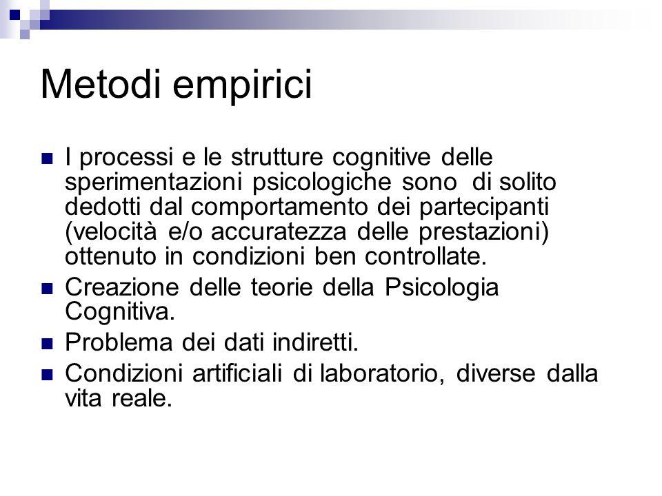 Metodi empirici I processi e le strutture cognitive delle sperimentazioni psicologiche sono di solito dedotti dal comportamento dei partecipanti (velo