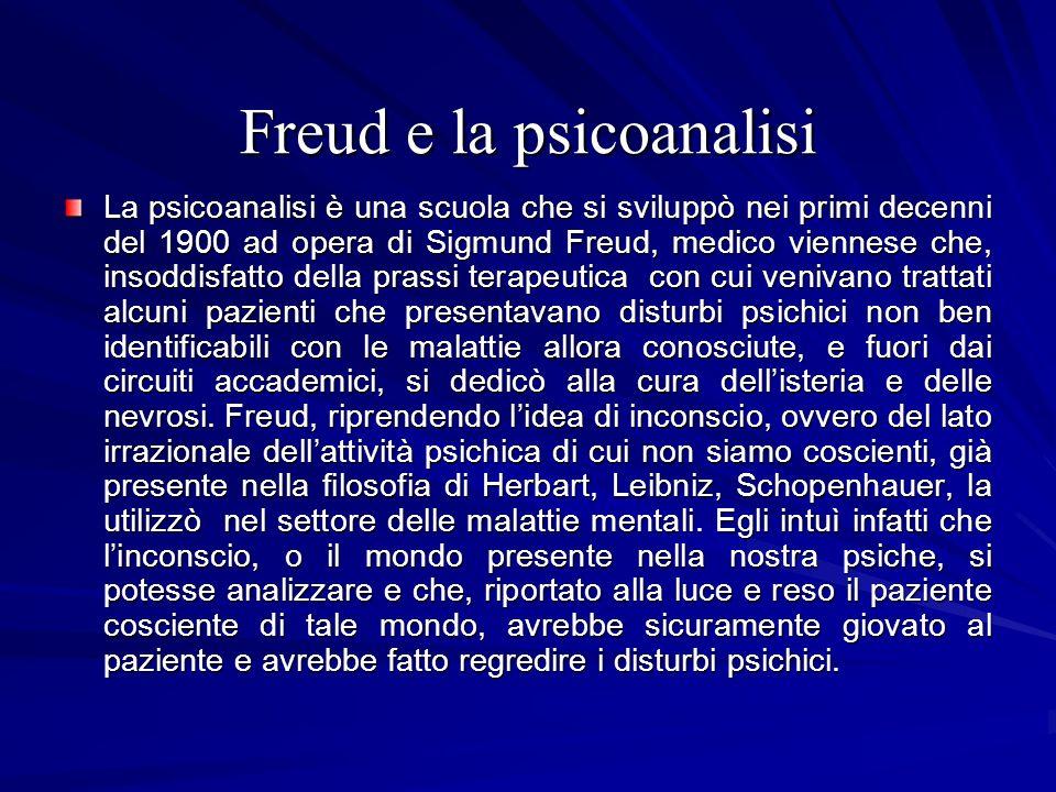 Freud e la psicoanalisi La psicoanalisi è una scuola che si sviluppò nei primi decenni del 1900 ad opera di Sigmund Freud, medico viennese che, insodd
