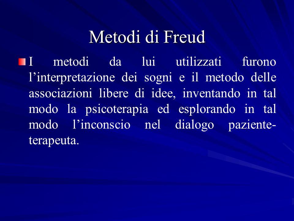 Metodi di Freud I metodi da lui utilizzati furono linterpretazione dei sogni e il metodo delle associazioni libere di idee, inventando in tal modo la