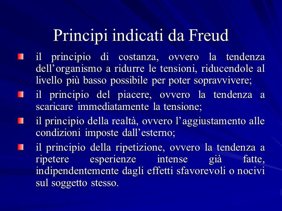 Principi indicati da Freud il principio di costanza, ovvero la tendenza dellorganismo a ridurre le tensioni, riducendole al livello più basso possibil