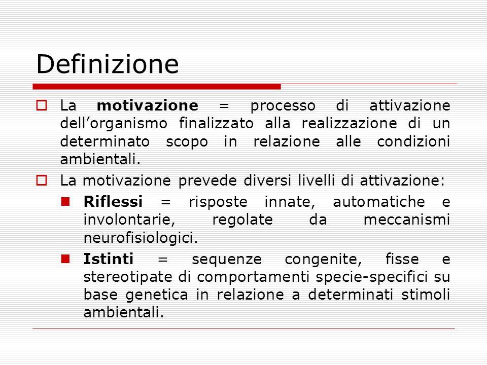 Definizione La motivazione = processo di attivazione dellorganismo finalizzato alla realizzazione di un determinato scopo in relazione alle condizioni