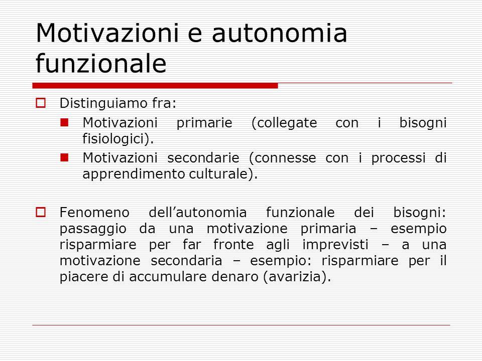 Motivazioni e autonomia funzionale Distinguiamo fra: Motivazioni primarie (collegate con i bisogni fisiologici). Motivazioni secondarie (connesse con