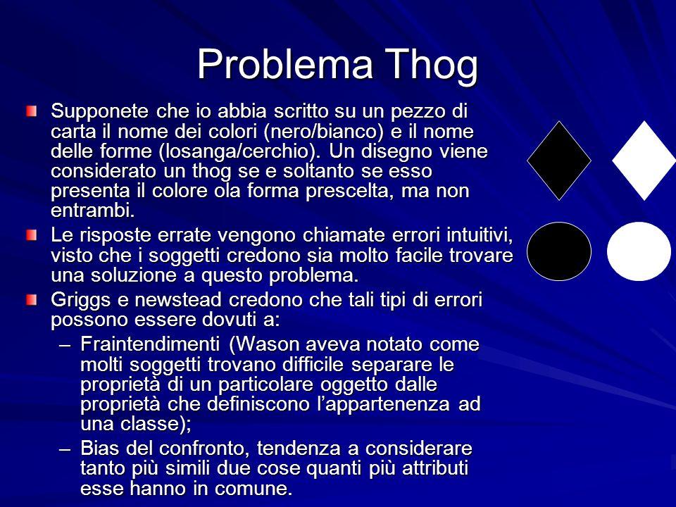 Problema Thog Supponete che io abbia scritto su un pezzo di carta il nome dei colori (nero/bianco) e il nome delle forme (losanga/cerchio).