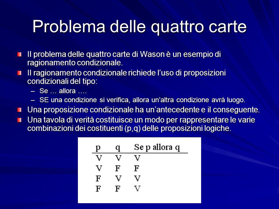 Problema delle quattro carte Il problema delle quattro carte di Wason è un esempio di ragionamento condizionale.