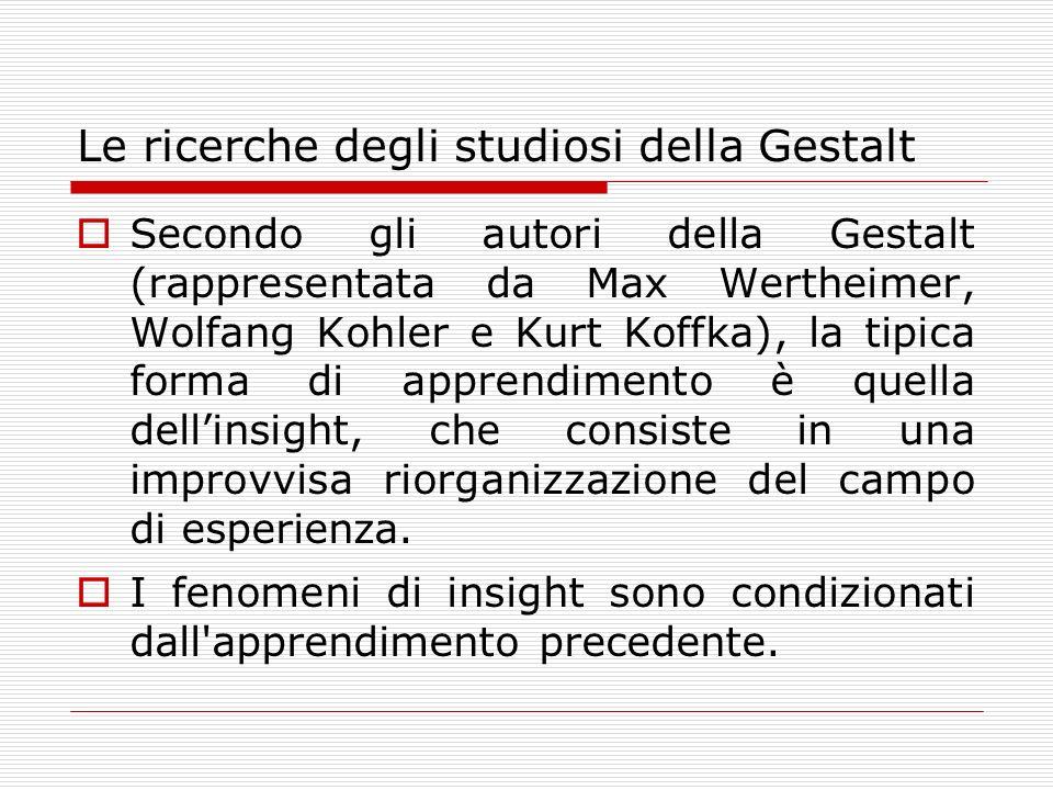 Le ricerche degli studiosi della Gestalt Secondo gli autori della Gestalt (rappresentata da Max Wertheimer, Wolfang Kohler e Kurt Koffka), la tipica f