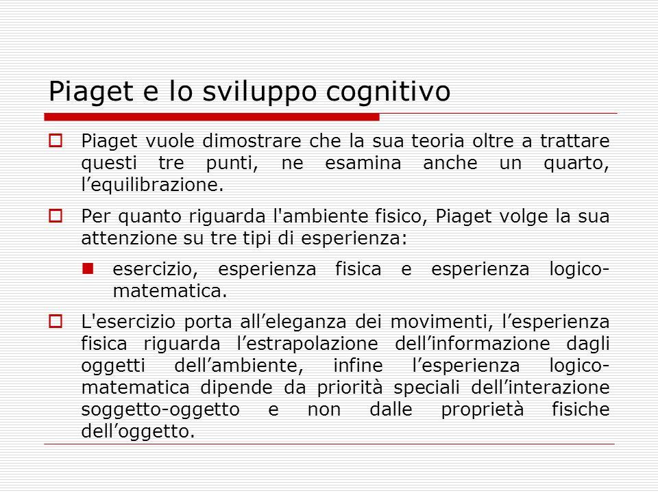 Piaget e lo sviluppo cognitivo Piaget vuole dimostrare che la sua teoria oltre a trattare questi tre punti, ne esamina anche un quarto, lequilibrazion