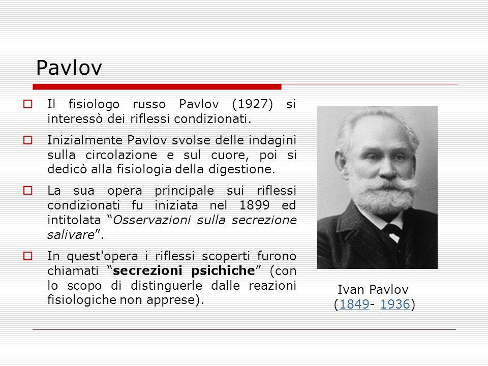 Pavlov Il fisiologo russo Pavlov (1927) si interessò dei riflessi condizionati. Inizialmente Pavlov svolse delle indagini sulla circolazione e sul cuo