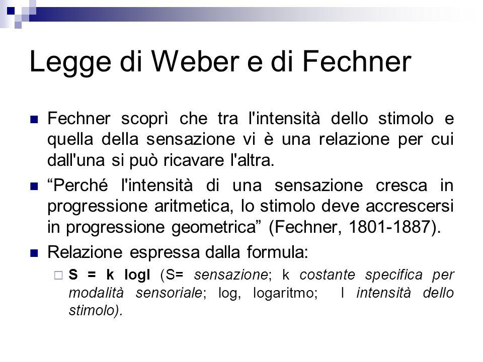 Legge di Weber e di Fechner Fechner scoprì che tra l'intensità dello stimolo e quella della sensazione vi è una relazione per cui dall'una si può rica