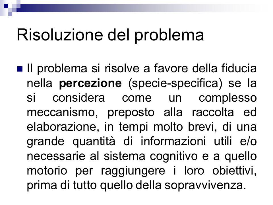 Risoluzione del problema Il problema si risolve a favore della fiducia nella percezione (specie-specifica) se la si considera come un complesso meccan