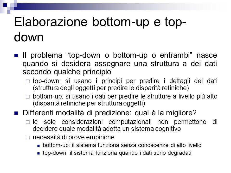 Elaborazione bottom-up e top- down Il problema top-down o bottom-up o entrambi nasce quando si desidera assegnare una struttura a dei dati secondo qua