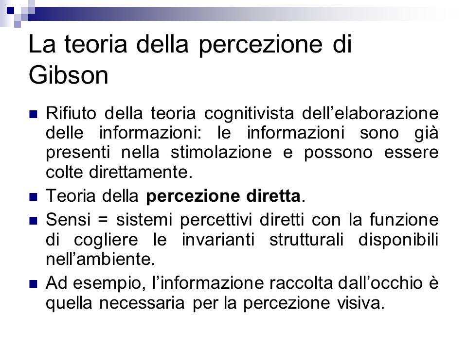 La teoria della percezione di Gibson Rifiuto della teoria cognitivista dellelaborazione delle informazioni: le informazioni sono già presenti nella st