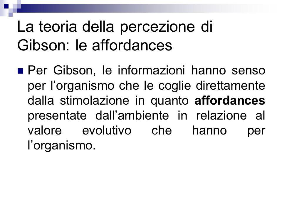 La teoria della percezione di Gibson: le affordances Per Gibson, le informazioni hanno senso per lorganismo che le coglie direttamente dalla stimolazi