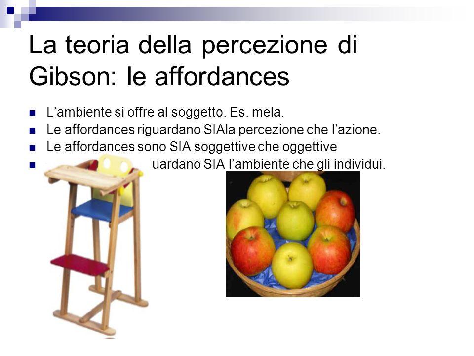 La teoria della percezione di Gibson: le affordances Lambiente si offre al soggetto. Es. mela. Le affordances riguardano SIAla percezione che lazione.