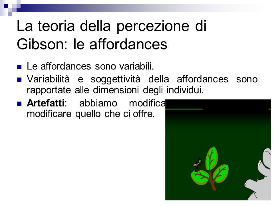 La teoria della percezione di Gibson: le affordances Le affordances sono variabili. Variabilità e soggettività della affordances sono rapportate alle