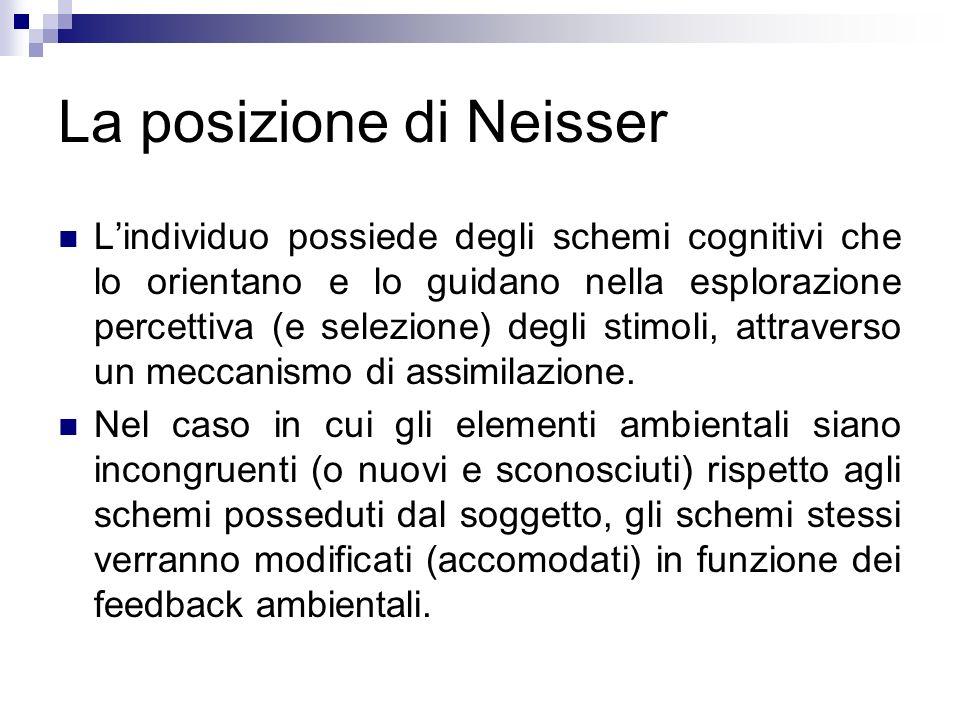 La posizione di Neisser Lindividuo possiede degli schemi cognitivi che lo orientano e lo guidano nella esplorazione percettiva (e selezione) degli sti