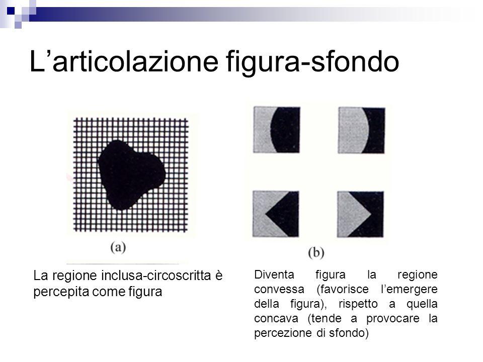 Larticolazione figura-sfondo La regione inclusa-circoscritta è percepita come figura Diventa figura la regione convessa (favorisce lemergere della fig