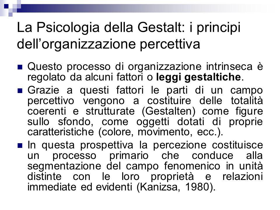 La Psicologia della Gestalt: i principi dellorganizzazione percettiva Questo processo di organizzazione intrinseca è regolato da alcuni fattori o legg