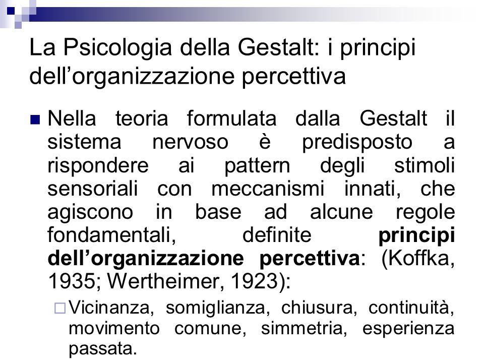 La Psicologia della Gestalt: i principi dellorganizzazione percettiva Nella teoria formulata dalla Gestalt il sistema nervoso è predisposto a risponde