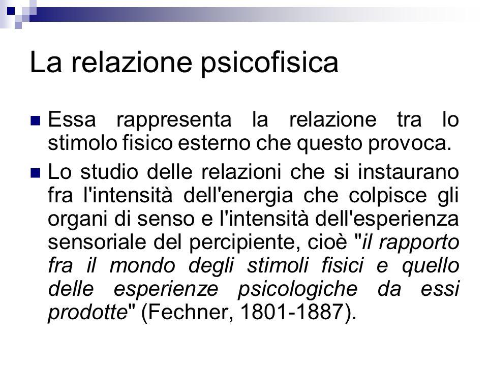 La relazione psicofisica Essa rappresenta la relazione tra lo stimolo fisico esterno che questo provoca. Lo studio delle relazioni che si instaurano f