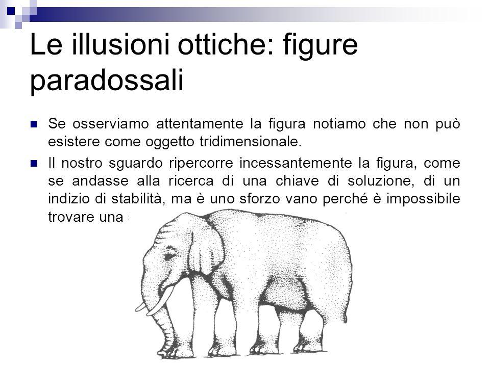 Le illusioni ottiche: figure paradossali Se osserviamo attentamente la figura notiamo che non può esistere come oggetto tridimensionale. Il nostro sgu