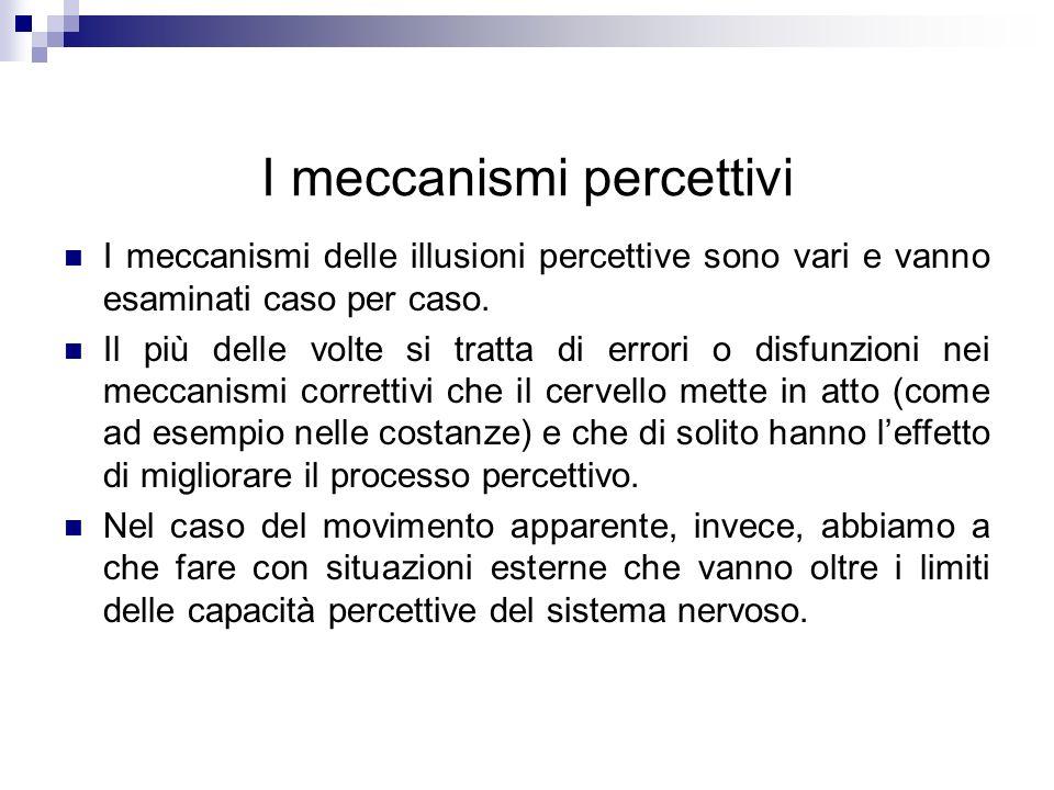 I meccanismi percettivi I meccanismi delle illusioni percettive sono vari e vanno esaminati caso per caso. Il più delle volte si tratta di errori o di