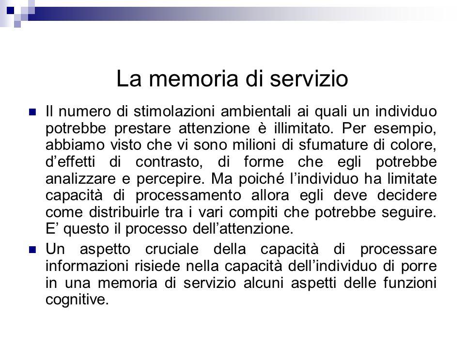 La memoria di servizio Il numero di stimolazioni ambientali ai quali un individuo potrebbe prestare attenzione è illimitato. Per esempio, abbiamo vist