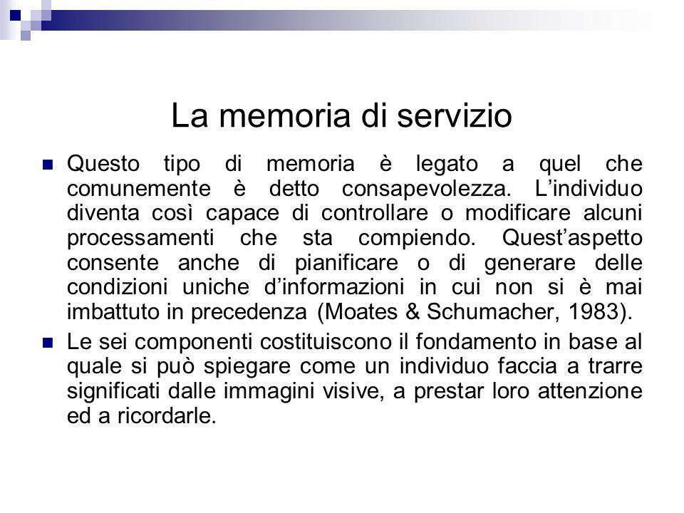 La memoria di servizio Questo tipo di memoria è legato a quel che comunemente è detto consapevolezza. Lindividuo diventa così capace di controllare o