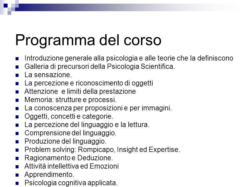Programma del corso Introduzione generale alla psicologia e alle teorie che la definiscono Galleria di precursori della Psicologia Scientifica. La sen