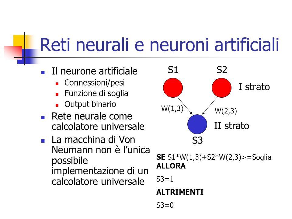 Reti neurali e neuroni artificiali Il neurone artificiale Connessioni/pesi Funzione di soglia Output binario Rete neurale come calcolatore universale La macchina di Von Neumann non è lunica possibile implementazione di un calcolatore universale SE S1*W(1,3)+S2*W(2,3)>=Soglia ALLORA S3=1 ALTRIMENTI S3=0 S1S2 S3 W(1,3) W(2,3) I strato II strato