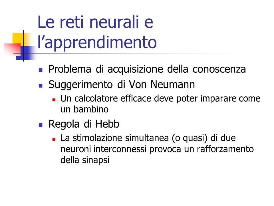 Le reti neurali e lapprendimento Problema di acquisizione della conoscenza Suggerimento di Von Neumann Un calcolatore efficace deve poter imparare come un bambino Regola di Hebb La stimolazione simultanea (o quasi) di due neuroni interconnessi provoca un rafforzamento della sinapsi