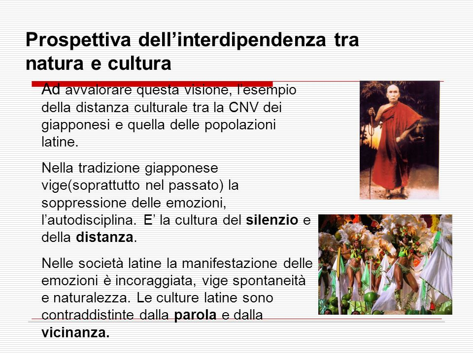 Prospettiva dellinterdipendenza tra natura e cultura Ad avvalorare questa visione, lesempio della distanza culturale tra la CNV dei giapponesi e quell