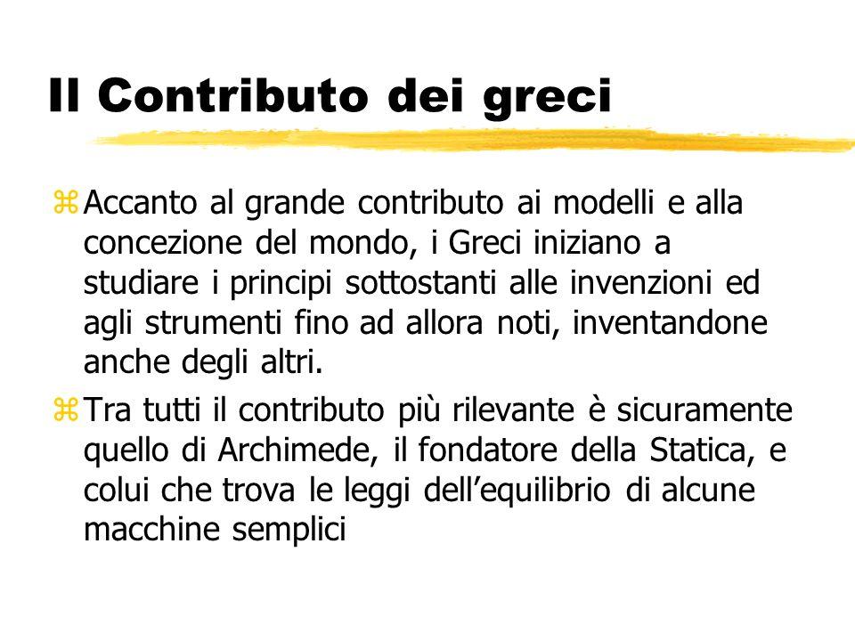 Il Contributo dei greci zAccanto al grande contributo ai modelli e alla concezione del mondo, i Greci iniziano a studiare i principi sottostanti alle