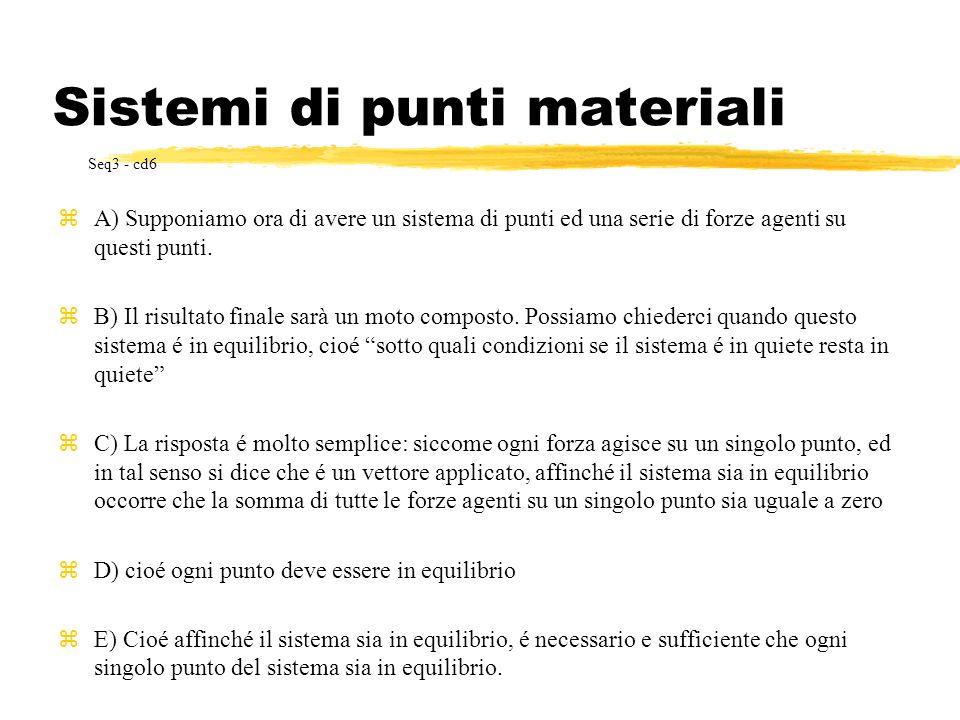 Sistemi di punti materiali zA) Supponiamo ora di avere un sistema di punti ed una serie di forze agenti su questi punti. zB) Il risultato finale sarà