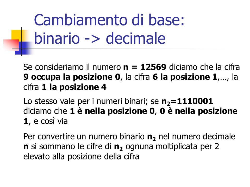 Cambiamento di base: binario -> decimale Se consideriamo il numero n = 12569 diciamo che la cifra 9 occupa la posizione 0, la cifra 6 la posizione 1,…