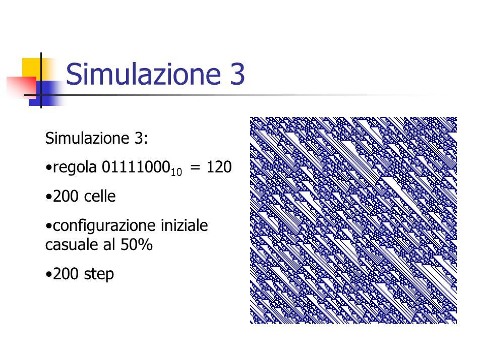 Simulazione 3 Simulazione 3: regola 01111000 10 = 120 200 celle configurazione iniziale casuale al 50% 200 step