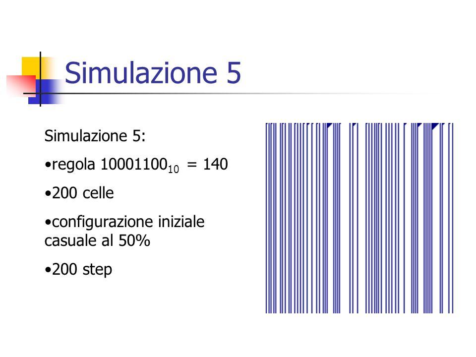Simulazione 5 Simulazione 5: regola 10001100 10 = 140 200 celle configurazione iniziale casuale al 50% 200 step