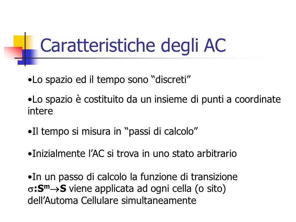Caratteristiche degli AC In un passo di calcolo la funzione di transizione :S m S viene applicata ad ogni cella (o sito) dellAutoma Cellulare simultan