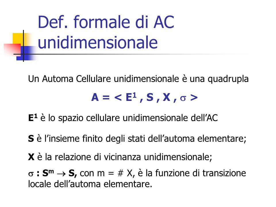 Def. formale di AC unidimensionale Un Automa Cellulare unidimensionale è una quadrupla A = E 1 è lo spazio cellulare unidimensionale dellAC S è linsie