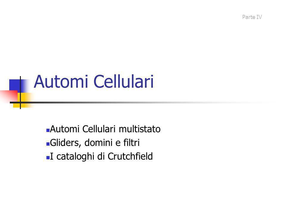 Automi Cellulari Automi Cellulari multistato Gliders, domini e filtri I cataloghi di Crutchfield Parte IV
