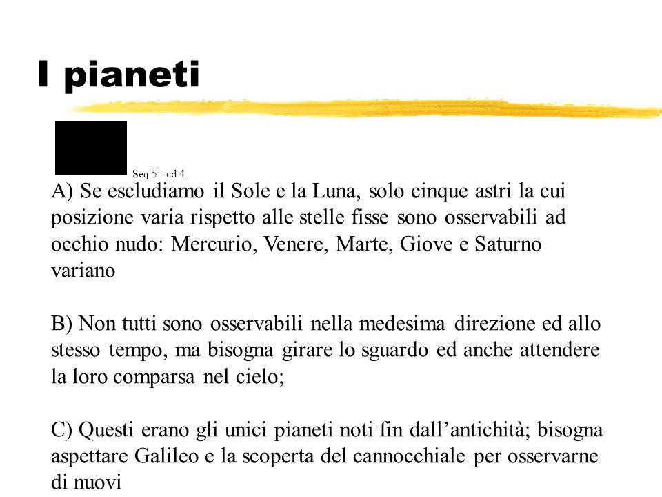 I pianeti A) Se escludiamo il Sole e la Luna, solo cinque astri la cui posizione varia rispetto alle stelle fisse sono osservabili ad occhio nudo: Mer