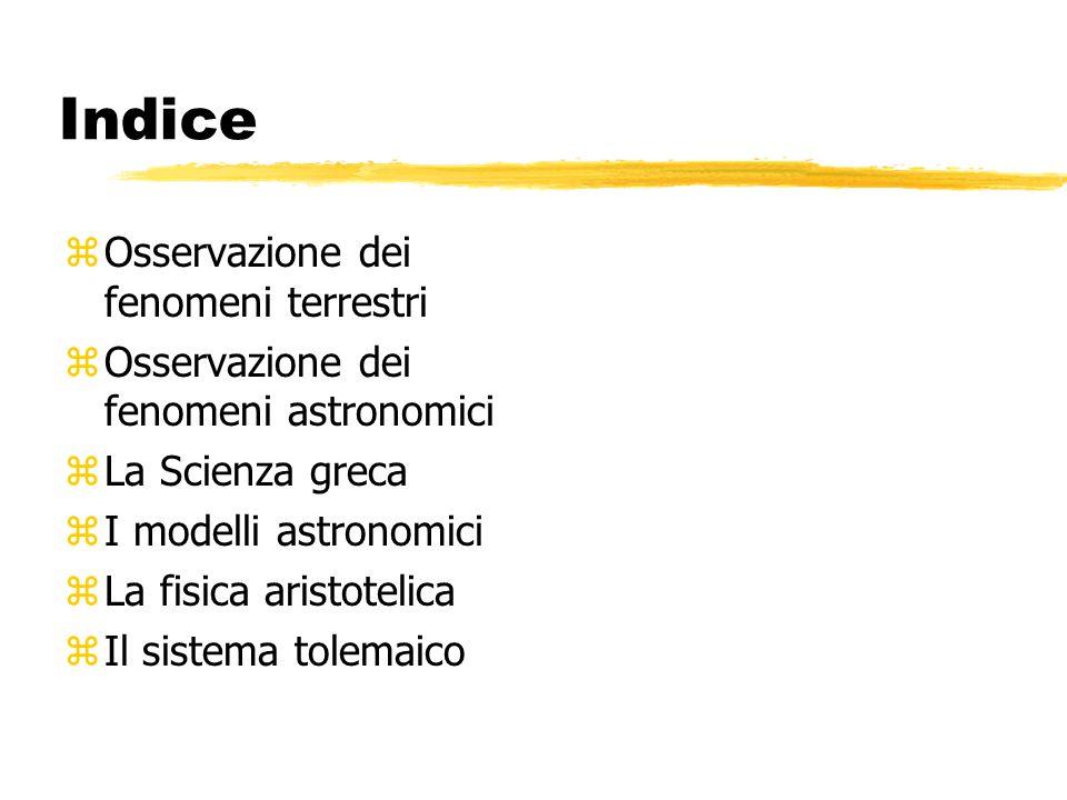 Indice zOsservazione dei fenomeni terrestri zOsservazione dei fenomeni astronomici zLa Scienza greca zI modelli astronomici zLa fisica aristotelica zI